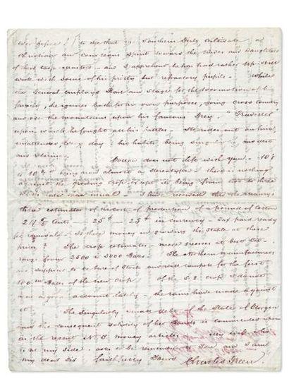 GREEN Charles (1807-1881) Grand-père de l'écrivain 5 lettres autographes signées,...