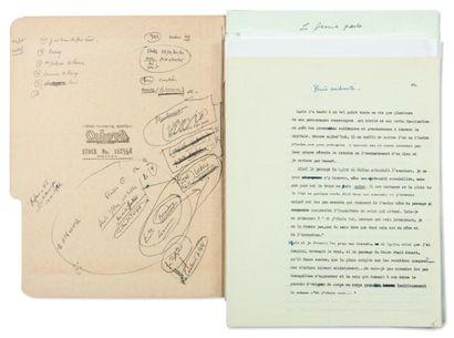 JULIEN GREEN PARIS Manuscrit dactylographié, plus de 60 pages tapuscrites in-4 auxquelles...