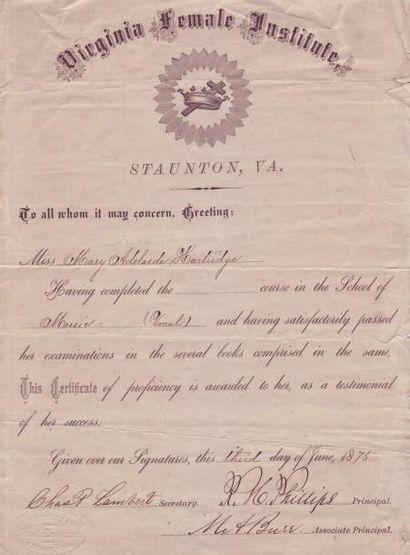 VIRGINIE, 1875 Certificat du «Virginia Female Institue» délivré le 3 juin 1875 à...