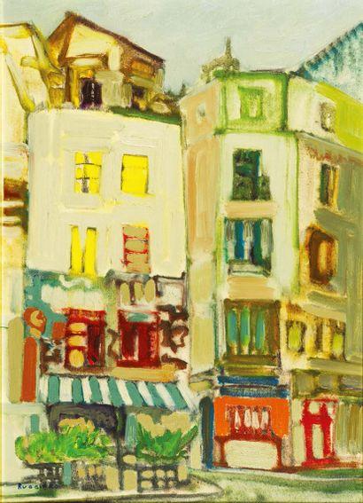 AMADEO RUGGIERO (1912-1986) La rue Huile sur toile. Signée en bas à gauche. H_68...