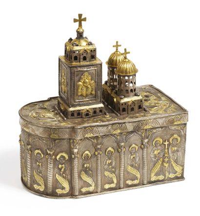 TABERNACLE en argent en partie doré en forme...