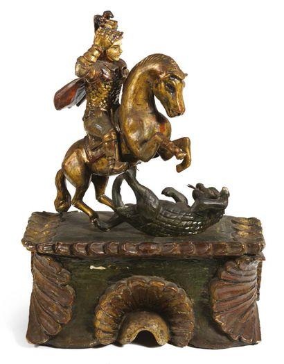 SAINT GEORGES TERRASSANT LE DRAGON en bois sculpté en ronde-bosse, polychromé et...