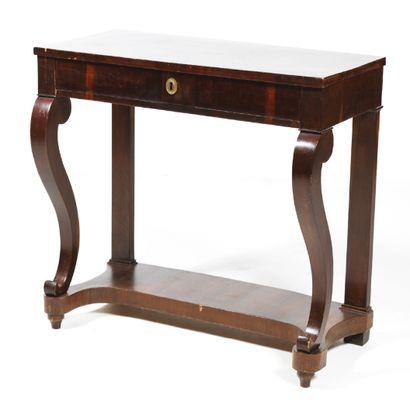 CONSOLE en bois verni ouvrant à un tiroir...