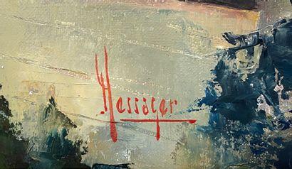 Michel Messager (1930-2018) Vue d'une ville Huile sur toile signée en bas à droite...