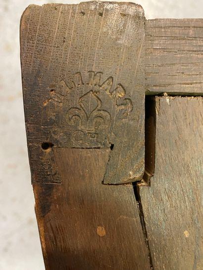Commode En bois de placage en frisage géométrique,...