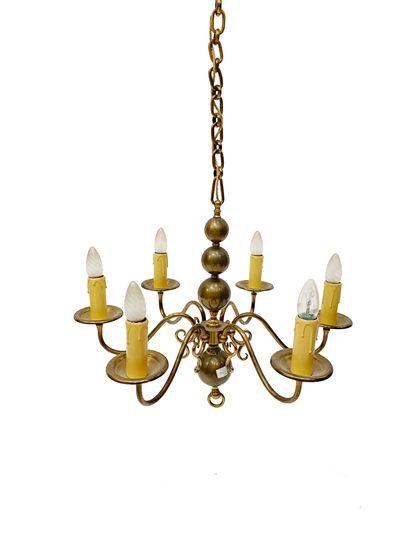 Lustre hollandais En laiton doré XIXe siècle...