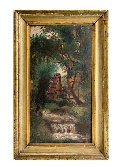 Ecole du XIXe siècle Paysage au moulin Huile...