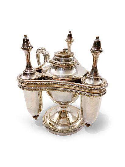 Brûle-parfum en métal argenté à quatre compartiments...