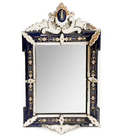 MURANO Miroir à fronton En verre bleuté et...