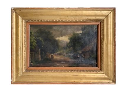 Ecole Française du XIXe siècle Paysage Huile sur toile 23 x 36 cm Léger accident...