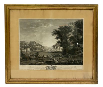 After Claude le Lorrain Black and white engraving representing a view of the river...