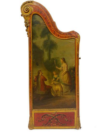 Paravent de forme harpe en bois peint et...