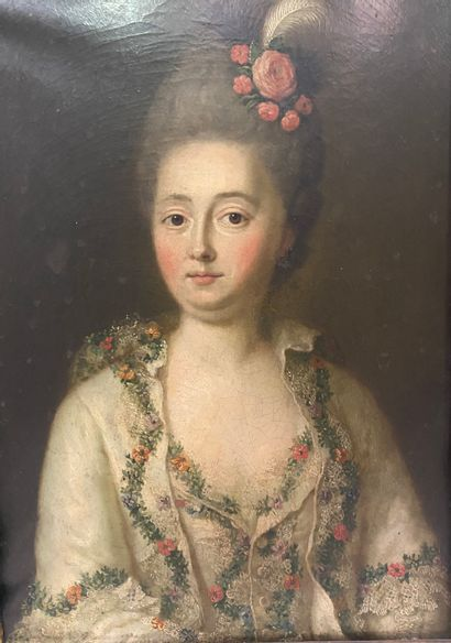 """French School circa 1770 """" Portrait of an Elegant Woman with a Pen """". Oil on vellum..."""
