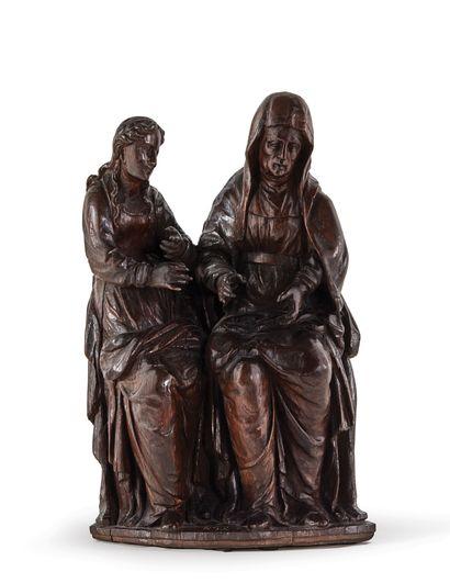 SAINTE ANNE TRINITAIRE en chêne sculpté,...