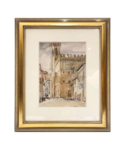 Henri SAADA (1906-1976) View of the Bargello in Florence Watercolour on paper Signed...