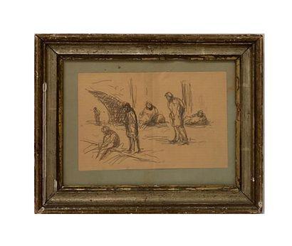 Les pêcheurs Esquisse sur papier H_13,5 cm...