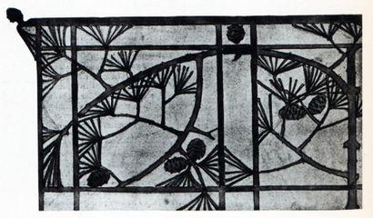RENÉ LALIQUE (1860-1945) Lustre Pommes de pin Exceptionnel et unique lustre en bronze...