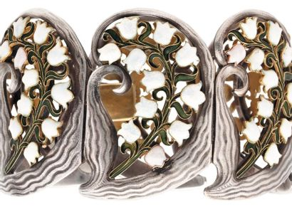 RENÉ LALIQUE (1860-1945) Brins de muguet IMPORTANT et RARE bracelet articulé composé...