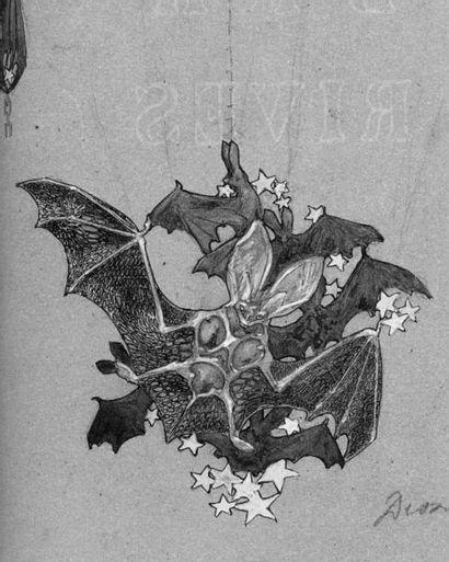 RENÉ LALIQUE (1860-1945) Bague de foulard Chauve-Souris Rare bague de foulard représentant...