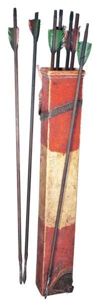 Carquois d'archer décoré, avec sept flèches,...