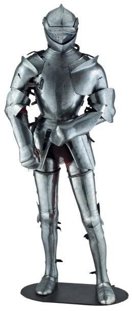 Belle reconstitution d'une armure de bataille,...