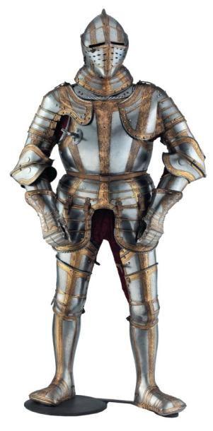 Imposante armure de bataille à bandes décorées...