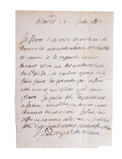 Ensemble de 2 lettres  -BOSSUET (Jacques-Bénigne)....
