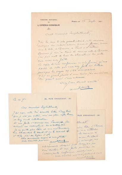 AURIC (Georges). Ensemble de 3 lettres adressées...