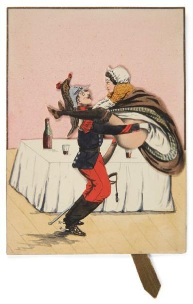 Image érotique à système. Vers 1870. Lithographie...