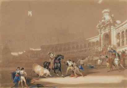 DAVID ROBERTS (1796 - 1864) Corrida à Séville Aquarelle. H_29 cm L_41 cm Les débuts...