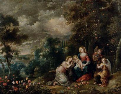 ABRAHAM WILLEMSEN (? 1605 - ANVERS 1672) Le mariage mystique de Sainte Catherine...