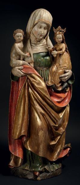 SAINTE ANNE TRINITAIRE en tilleul sculpté,...