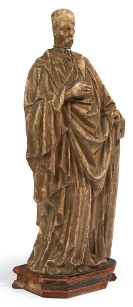 SAINT APÔTRE (ANDRÉ?) en albâtre sculpté...