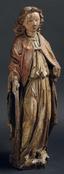 BEL ANGE en chêne sculpté en ronde bosse...