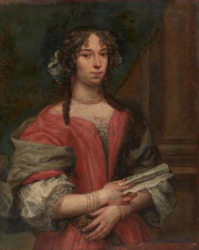 École HOLLANDAISE du XVIIIe siècle Portrait de femme à la partition de musique Toile...