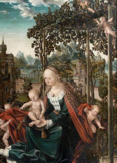 ECOLE DE NUREMBERG VERS 1530 Vierge à l'Enfant dans un jardin clos Panneau. H_88...