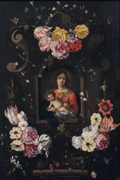 ECOLE FLAMANDE VERS 1650, ENTOURAGE DE DANIEL SEGHERS ET DE CORNELIS SCHUT