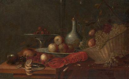 ATTRIBUÉ À ANDRIES BENEDETTI (1615 - 1660) Nature morte au homard, panier de fruits...