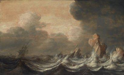 ATTRIBUÉ À JAN PORCELLIS (1583 - 1632) Marine par temps agité Panneau de chêne, deux...