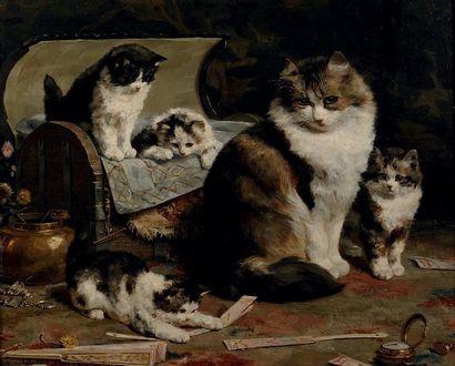 CHARLES VAN DEN EYCKEN (BRUXELLES 1859-1923) Les chats Sur sa toile d'origine. Signée...