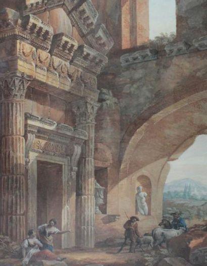 CHARLES LOUIS CLÉRISSEAU (PARIS 1721-1820) Ruines Romaines animées Gouache. Signée...