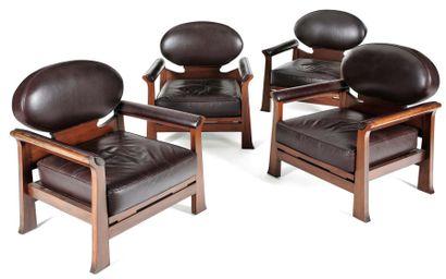 """Emile veranneman (1924 - 2004) Suite de quatre fauteuils, modèle """"Osaka"""" à assises..."""