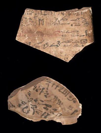 Égypte DEUX OSTRACA HIÉRATIQUES. Lot composé de deux ostraca, l'un biface inscrit...