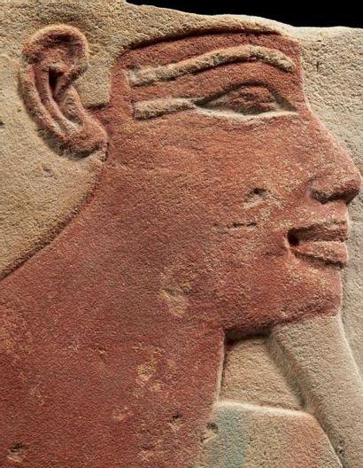 Égypte PROFIL D'AMON. Scène d'accolade théo-régalienne. Relief sculpté du buste du...