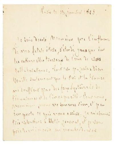 CHATEAUBRIAND François-René de (1768-1848) Lettre autographe signée, Paris 13 janvier...