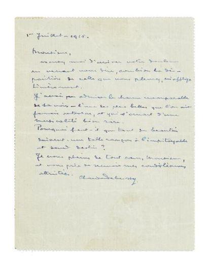 DEBUSSY Claude (1862-1918) Lettre autographe signée, 1er juillet 1915, [à Pierre-Barthélemy...