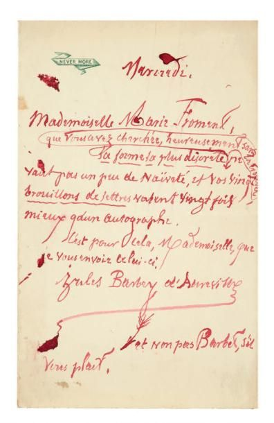 BARBEY D'AUREVILLY JULES (1808-1889)