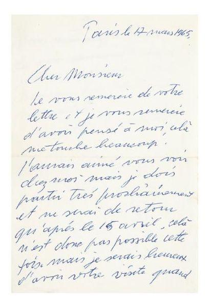 GIACOMETTI Alberto (1901-1966) Lettre autographe signée, Paris 17 mars 1965; 1 page...