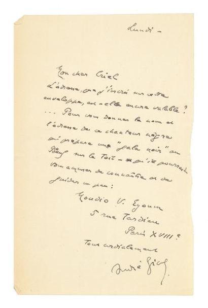 """GIDE André Lettre autographe signée, Lundi, à Gaston Criel; 1 page in-8. """"L'adresse,..."""