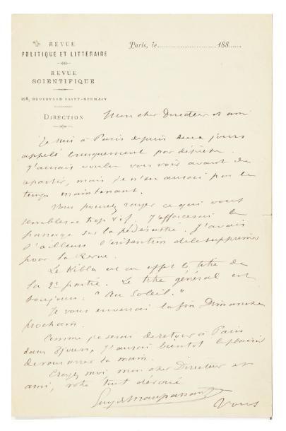 MAUPASSANT Guy de (1850-1893) Lettre autographe signée, Paris [fin 1883?, à Eugène...